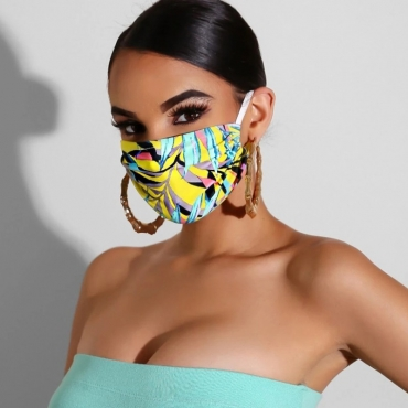 Lovely Casual Print Yellow Face Mask