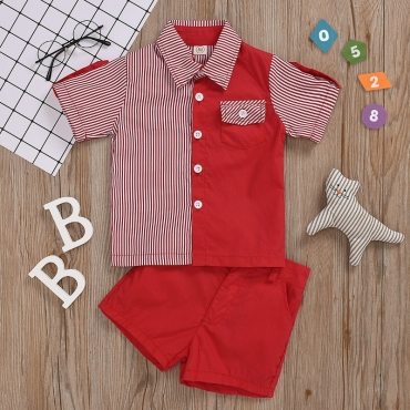 lovely Casual Striped Patchwork Red Boy Two-piece Shorts Set