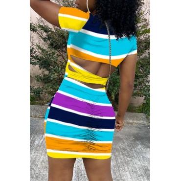 Lovely Casual Rainbow Striped Multicolor Mini Dress