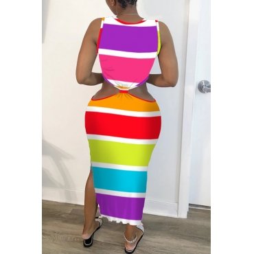 lovely Casual Rainbow Striped Multicolor Mid Calf Dress