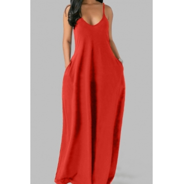 lovely Leisure Pocket Patched Jacinth Maxi Plus Size Dress