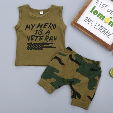 lovely Casual Letter Print Green Boy Two-piece Shorts Set