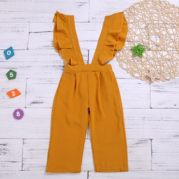 lovely Stylish Flounce Design Yellow Girl One-piece Jumpsuit