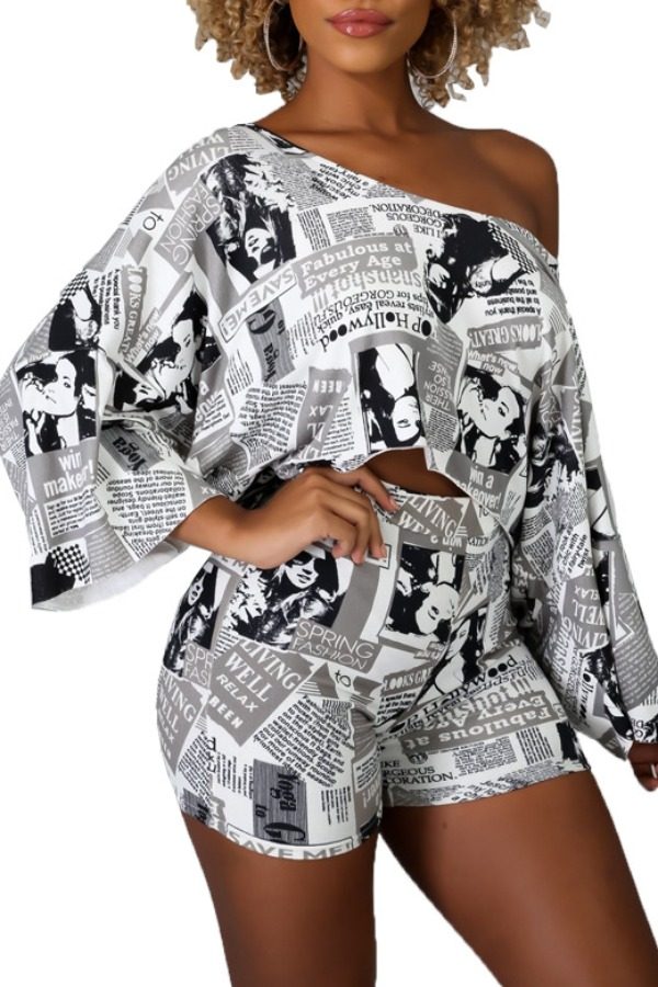 Lovely Casual One Shoulder Print White Two-piece Shorts Set