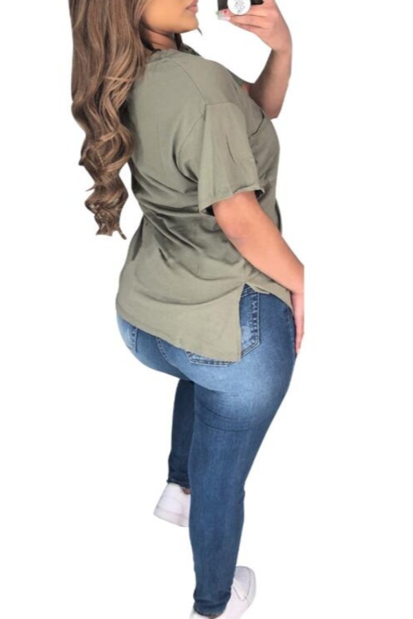 lovely Leisure O Neck Army Green Plus Size T-shirt