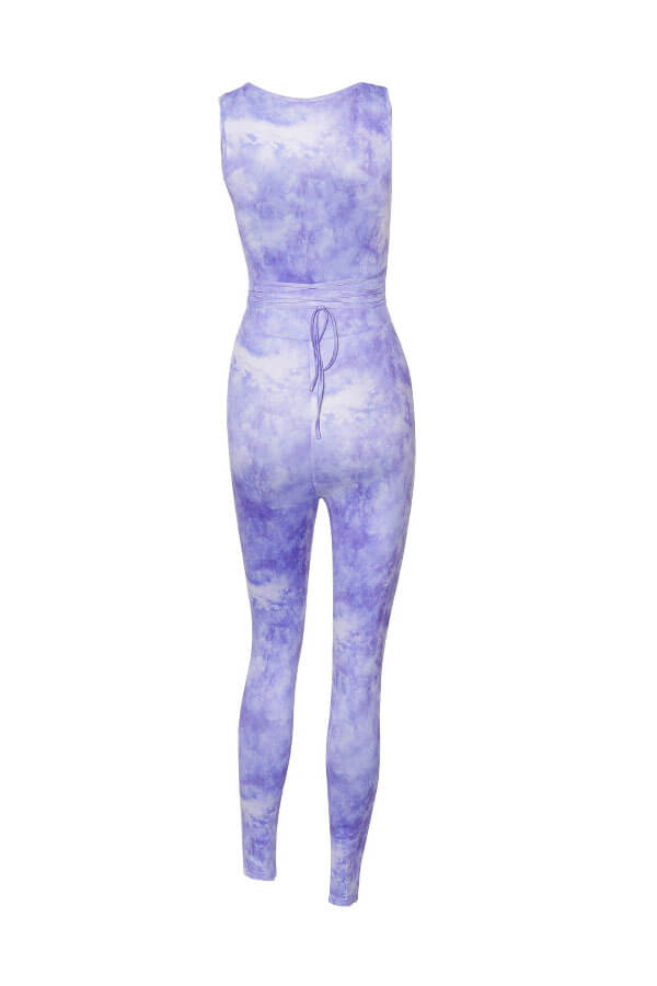 lovely Sexy Deep V Neck Hollow-out Purple One-piece Jumpsuit