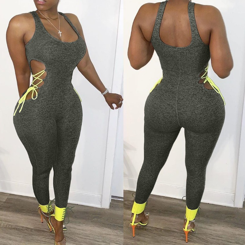 Lovely Sexy Lace-up Dark Grey One-piece Jumpsuit фото