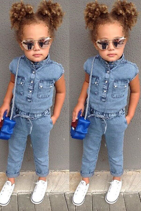 Girls Jumpsuit lovely Sweet Lace-up Baby Blue Girl One-piece Jumpsuit фото