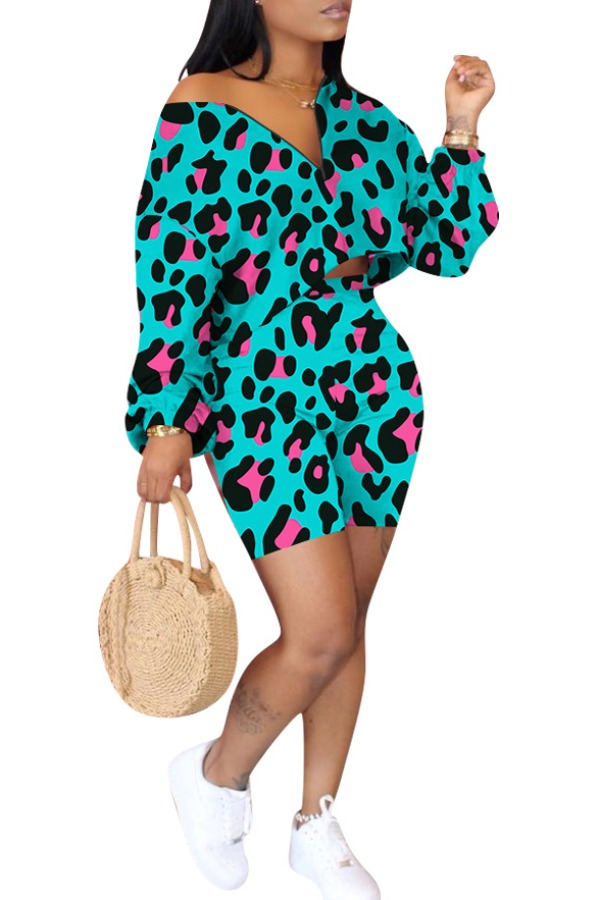 Lovely Casual Leopard Print Two-piece Shorts Set