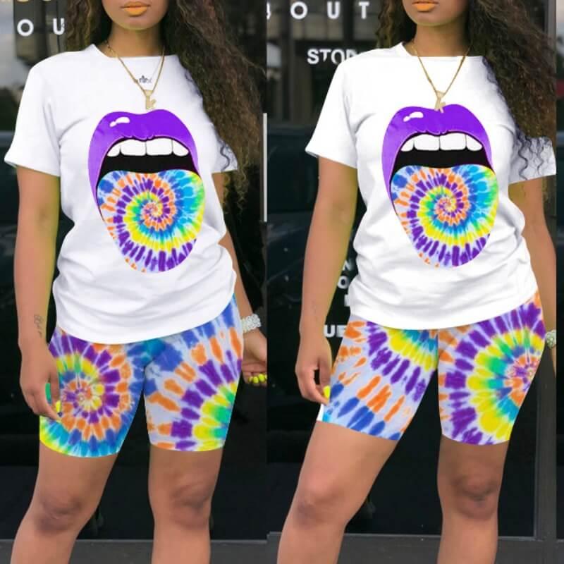 Lovely Leisure Lip Print Purple Shorts Set