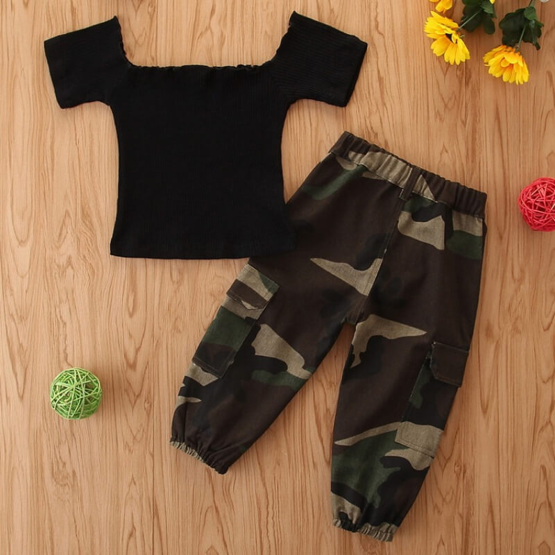Lovely Casual Camo Print Black Girl Two-piece Pant