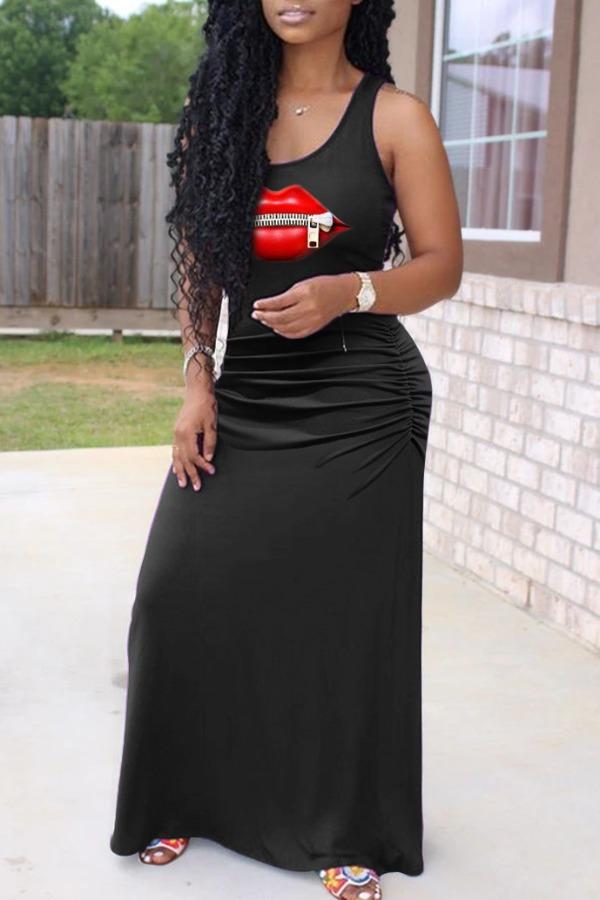 Lovely Casual Lip Print Zipper Black Maxi Dress фото