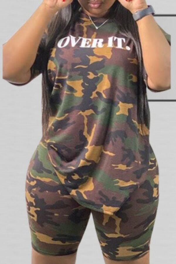 Lovely Casual Camo Print Plus Size Two-piece Shorts Set фото