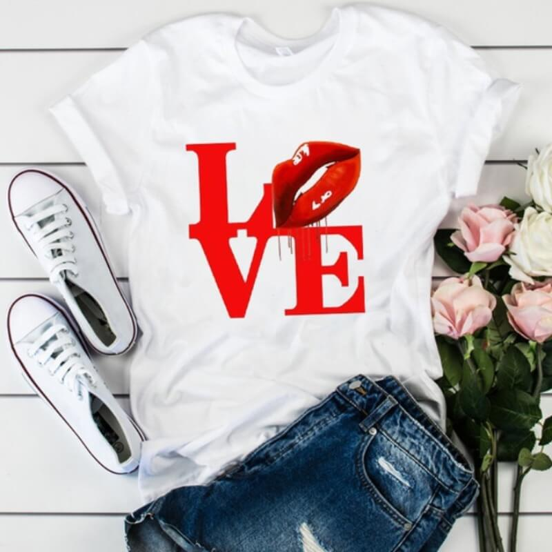 Lovely Leisure O Neck Letter Print Bright Red T-shirt фото