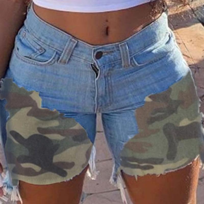 lovely Stylish Patchwork Baby Blue Denim Shorts