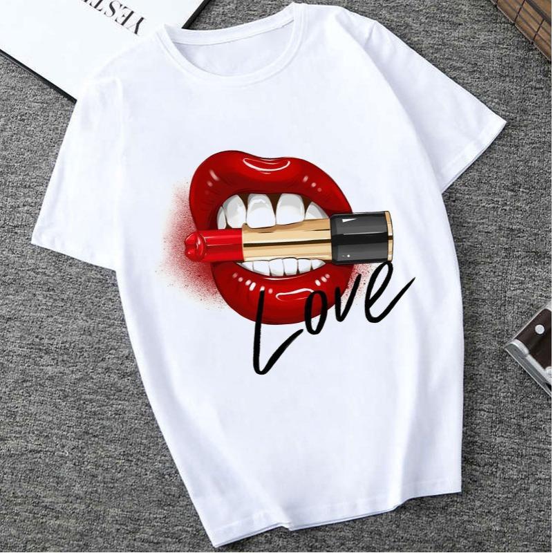 Lovely Casual O Neck Lip Print White T-shirt фото