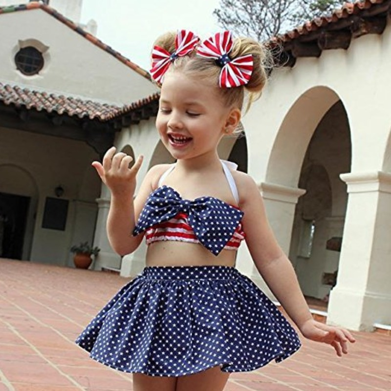 Girls Two-piece Skirt Set Lovely Independence Day Sweet Dot Print Blue Girl Two-piece Skirt Set фото