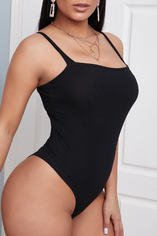 Lovely Casual Spaghetti Strap Black Bodysuits фото