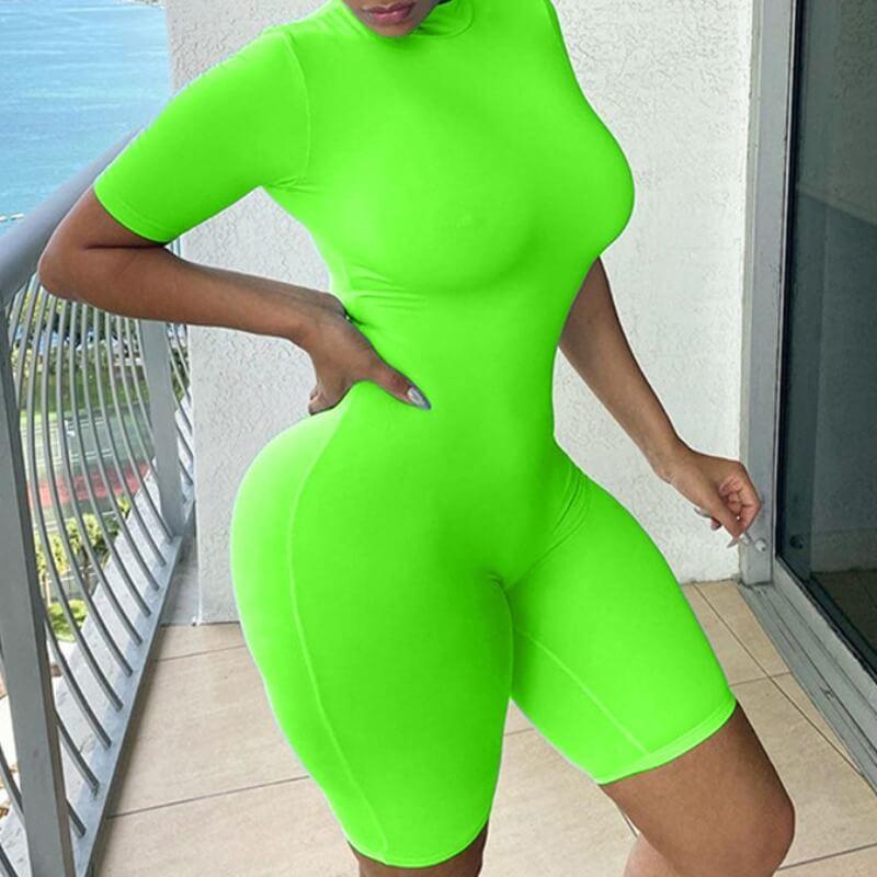LW BASICS Leisure Skinny Green One-piece Romper