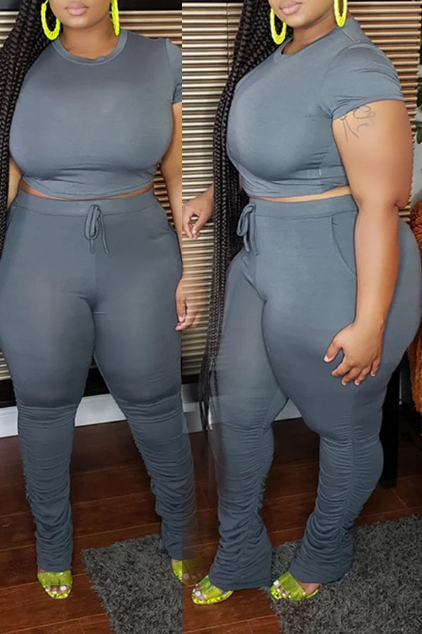 Lovely Casual Grey Plus Size Two-piece Pants Set фото