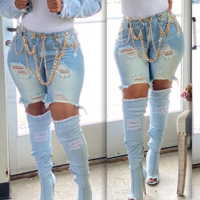 Lovely Stylish Broken Holes Baby Blue Denim Shorts фото