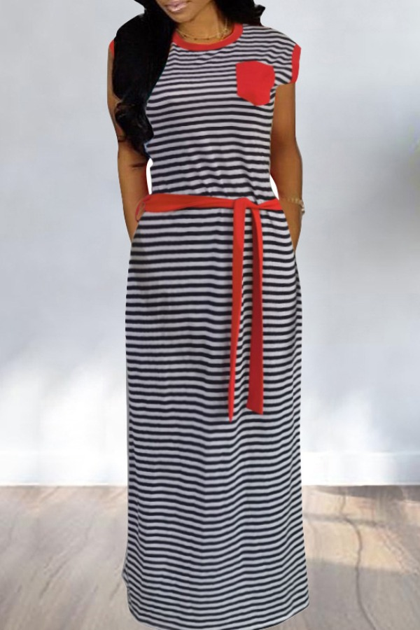 Lovely Leisure Striped Red Maxi Dress фото