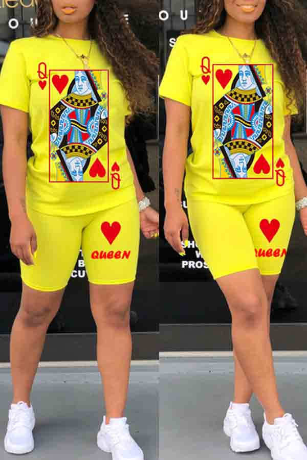 Lovely Casual O Neck Print Yellow Two-piece Shorts Set фото