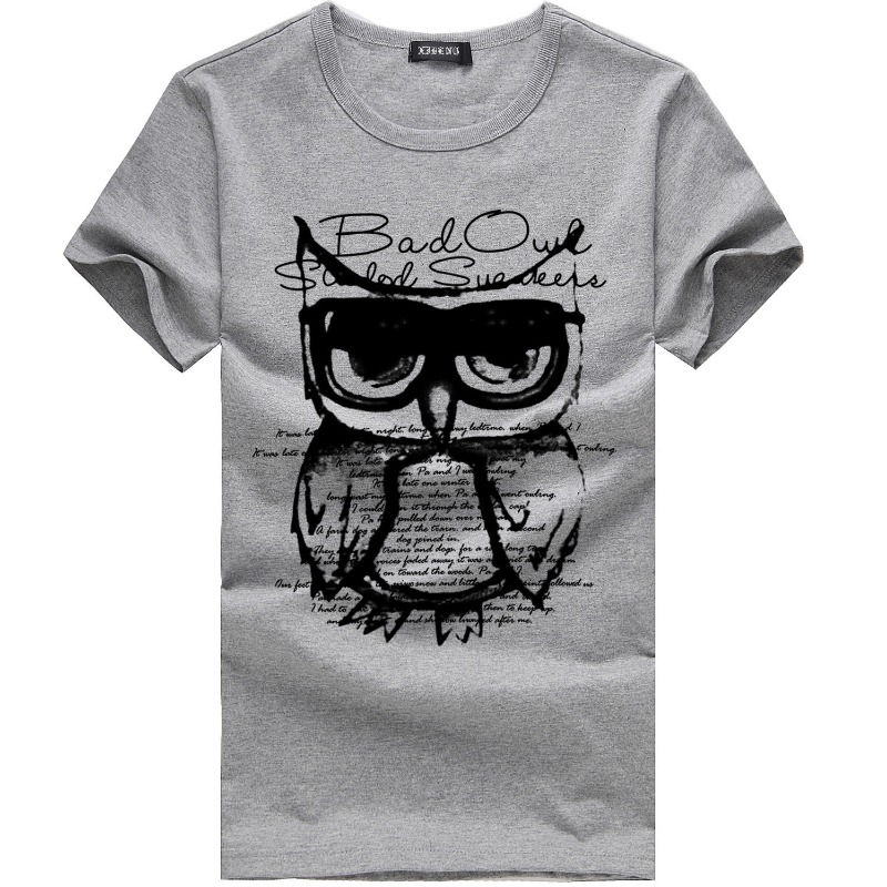Lovely Casual O Neck Print Grey T-shirt фото