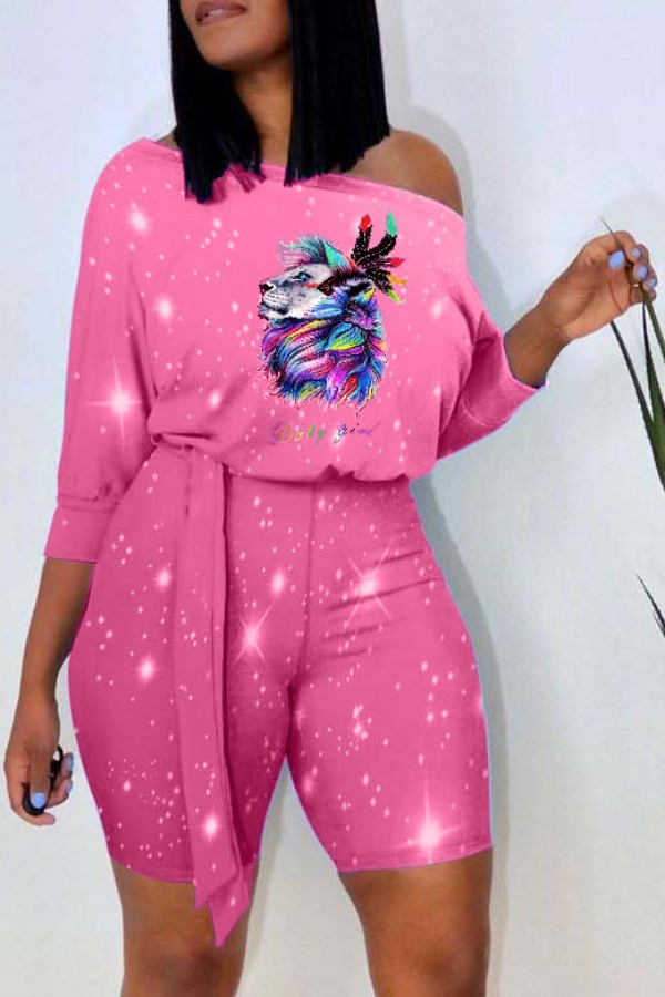 Lovely Leisure Print Pink Two-piece Shorts Set фото