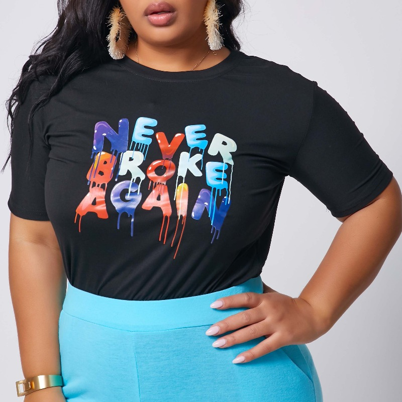 Lovely Leisure O Neck Letter Print Black Plus Size T-shirt фото