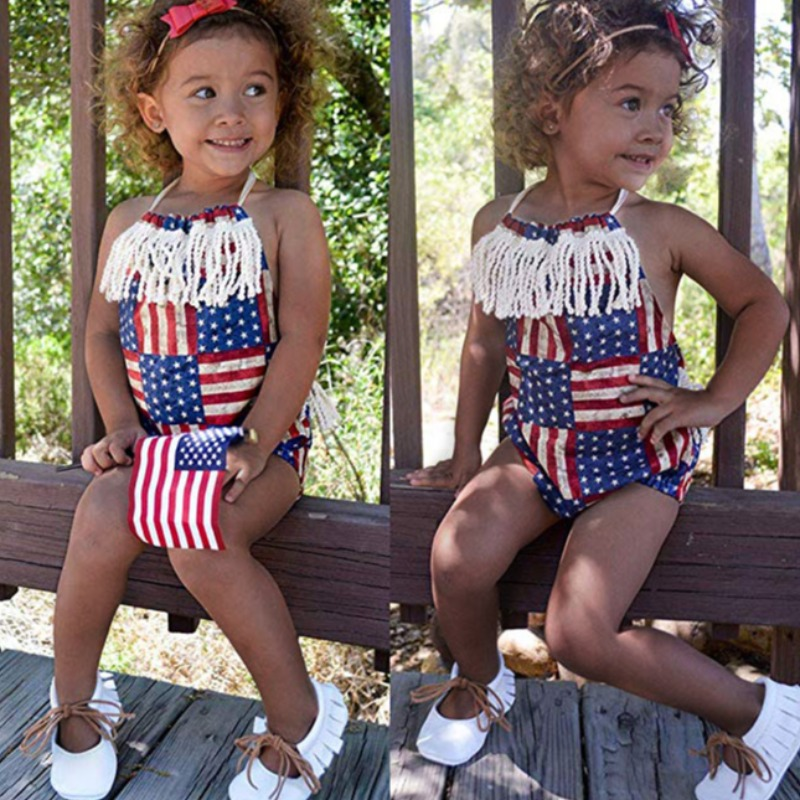 Girls Romper lovely Independence Day Casual Print Blue Girl One-piece Romper фото