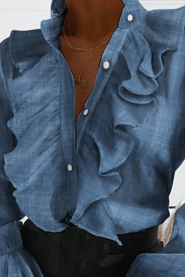 Denim Tops lovely Sweet Flounce Design Blue Denim Blouse фото