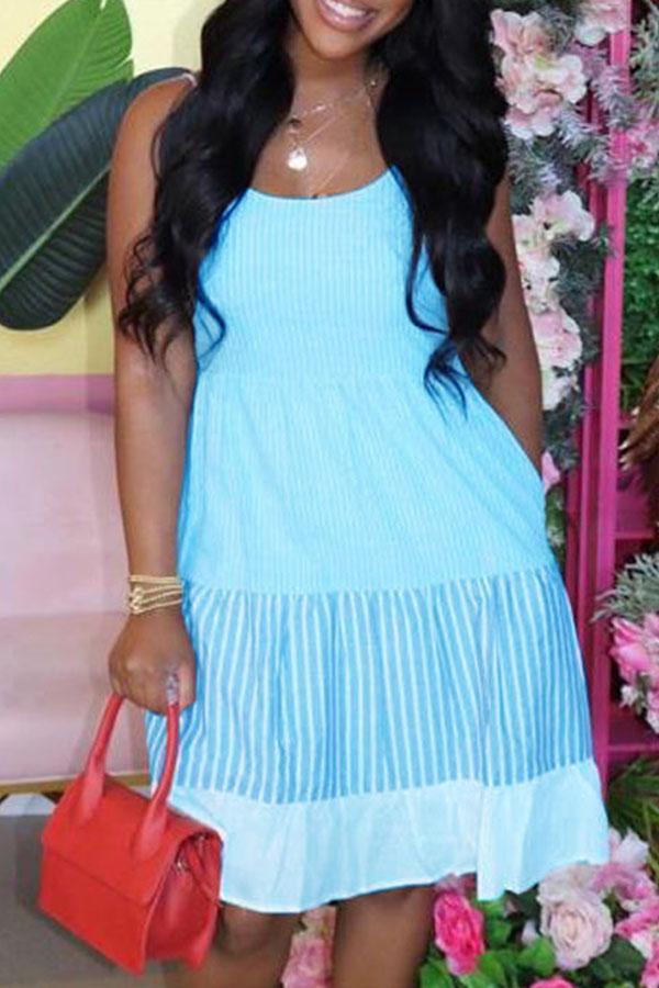 Lovely Sweet Patchwork Skyblue Knee Length Dress фото