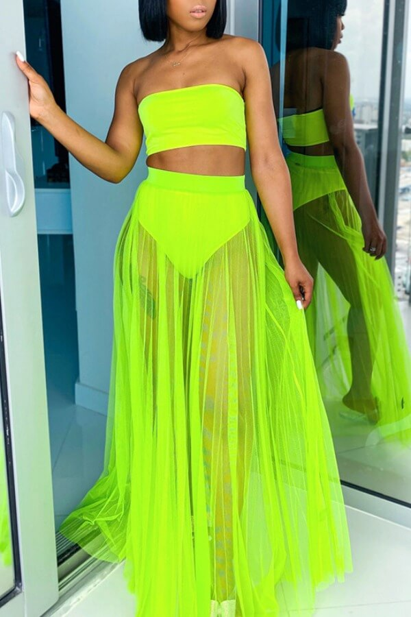 Lovely See-through Green Two-piece Swimsuit