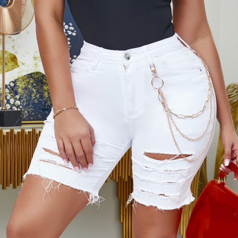 Lovely Casual Broken Holes White Denim Shorts фото
