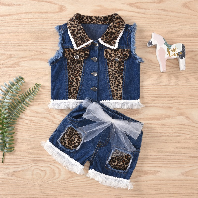 Girls Two-piece Shorts Set lovely Street Patchwork Blue Girl Two-piece Shorts Set фото