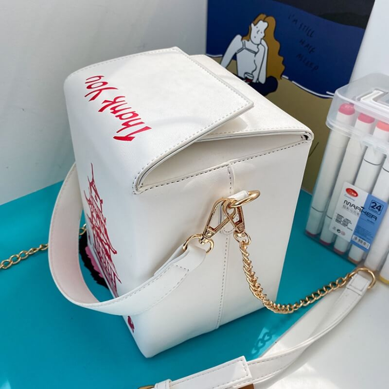 Lovely Chic Chain Strap White Crossbody Bag