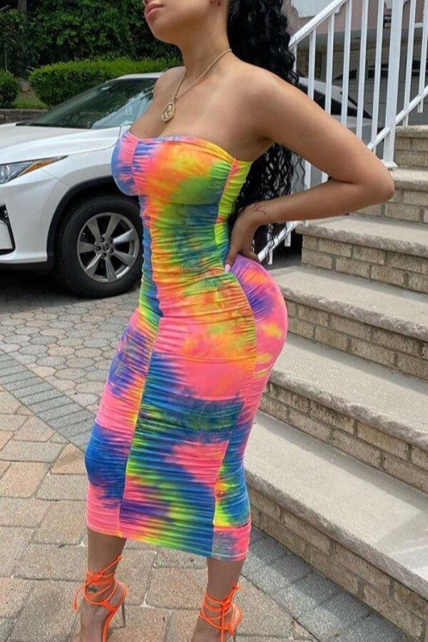 Lovely Street Dew Shoulder Tie-dye Multicolor Mid