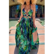 lovely Sexy Halter Neck Hollow-out Green Maxi Dress