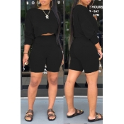 lovely Casual O Neck Black Two-piece Shorts Set