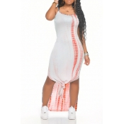 lovely Casual Spaghetti Strap Print Jacinth Ankle