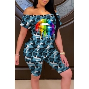 lovely Casual Camo Print Blue Plus Size Two-piece Shorts Set