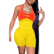 lovely Sexy Patchwork Backless Yellow One-piece Ro