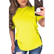 lovely Leisure O Neck Yellow Plus Size T-shirt