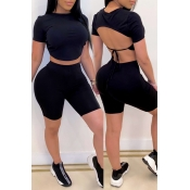 lovely Sexy Backless Black Two-piece Shorts Set