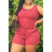 lovely Casual O Neck Drawstring Design Wine Red One-piece Romper