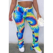 lovely Casual Print Tie-dye Drawstring Blue Pants
