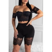 lovely Sexy Off The Shoulder Patchwork Black Two-p