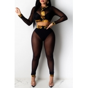 lovely Sexy Gauze Patchwork Black Two-piece Pants
