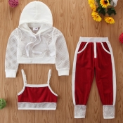 Lovely Casual Hooded Collar Patchwork Red Girl Two-piece Pants Set